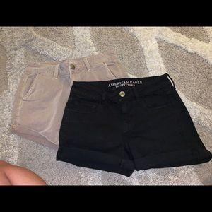 Black and Khaki AE shorts size 2
